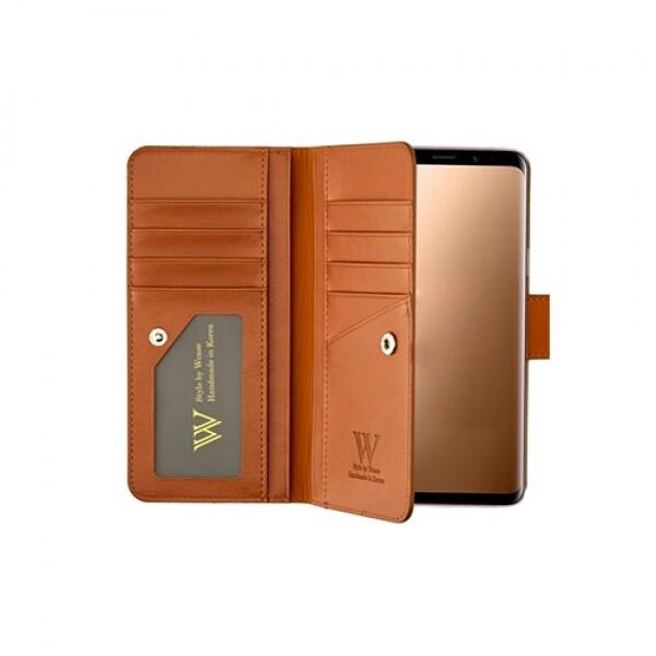 우진인터내셔널 더블유케이스 프리미엄라벨 갤럭시노트10 5G 모카브라운 양면지갑 핸드폰케이스