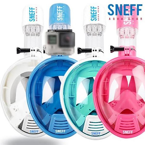 스네프 스마트 스노클링마스크 SMT-2001 아동용 액션캠 부착 가능(블루, 핑크, 민트, 화이트)