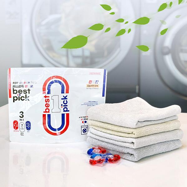 베스트 픽 고농축 캡슐형 세탁세제 액체 3in1섬유보호 향기+강력세척+덴마크 효소 14.5g x 35개 (유통기한: 2021-06-23 제조일로부터 3년)_리씽크팀