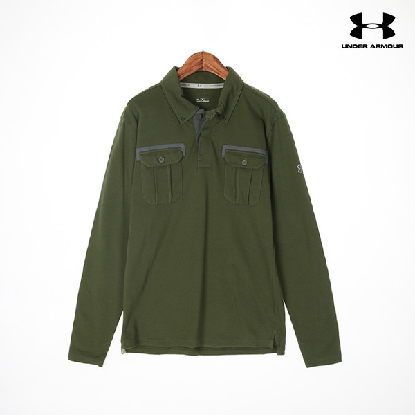 언더아머 남성 PK 티셔츠 UA CHARGED COTTON MILITARY LS POLO