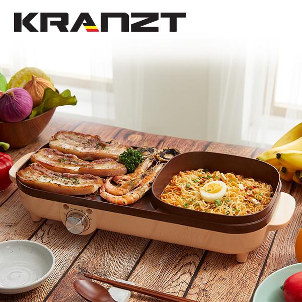 (디자인특허출원)클란츠 마이노바 2in1 전기냄비 그릴팬(브라운) KRZ-1004