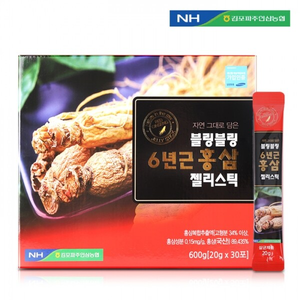 김포파주인삼농협 블링블링 6년근 홍삼 젤리스틱 20g x 30포(쇼핑백 포함)