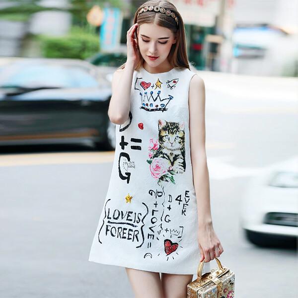 OUSHANG 여름 세련된 빈티지 고양이 인쇄 민소매 조끼 드레스 (사이즈M)