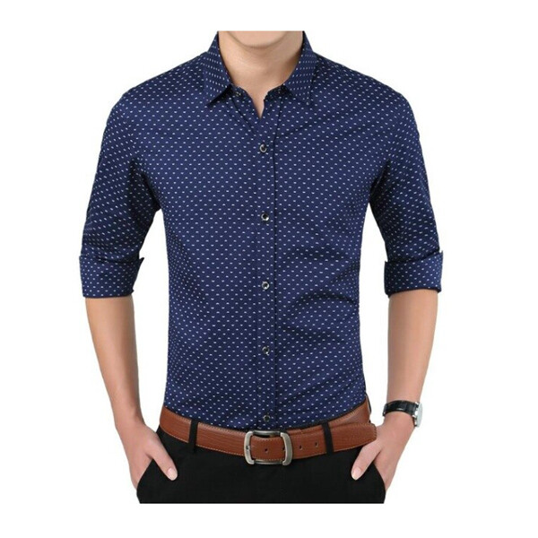남성 패턴 솔리드 긴팔 셔츠 (사이즈 : M)