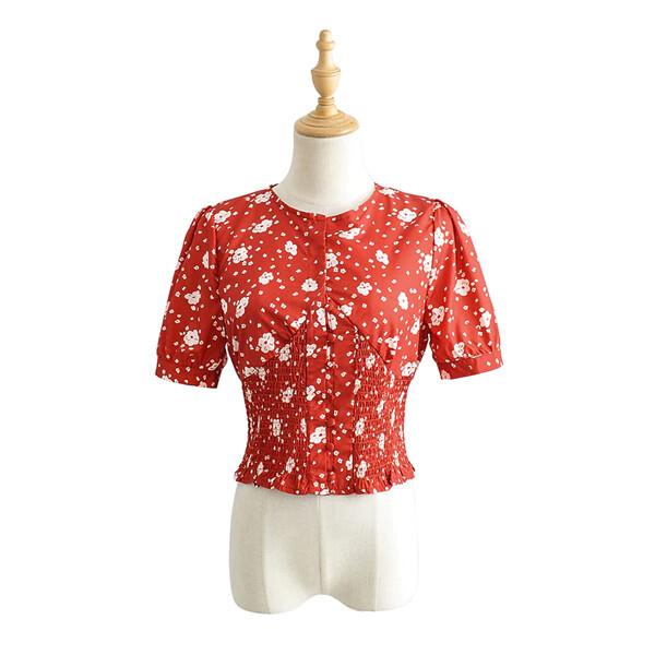 여성 여름 짧은 소매 꽃 프린트 탑 레드 (사이즈 XS)