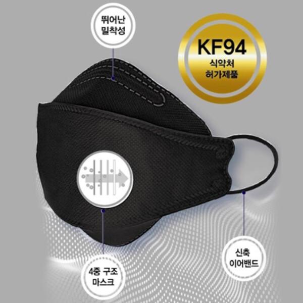 [얼리찬스!~01/19까지]  [50매 1세트] KF94 블랙 마스크 선착순 3백원대!! 국내생산 앱솔루트 황사 방역용 마스크 대형 개별포장 50매