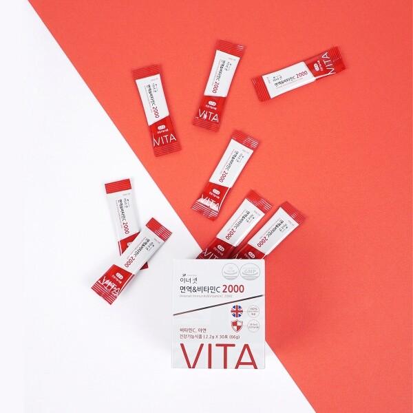 이너셋 면역&비타민C 2000 6박스 (30포/1박스, 유통기한 2022년 8월 25일까지)