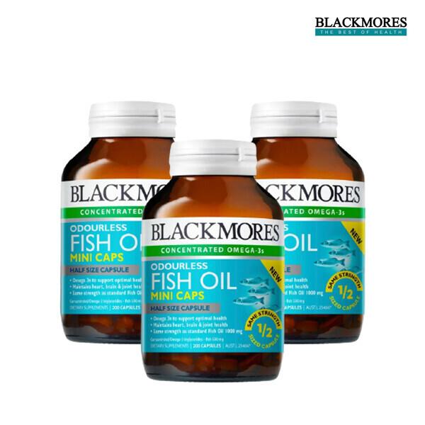 [1+2]BLACKMORES 블랙모어스 Odourless Fish Oil mini caps 200s 오더리스 피쉬오일 미니 200정*3 [냄새를 줄인 미니사이즈 오메가3] (면세점재고 / 해외구매대행 / 유통기한 5월26일)