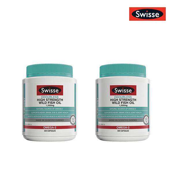 [1+1] SWISSE 스위스 무취 고함량 오메가3 피쉬오일 1,500mg 400캡슐 (한국 면세점재고 해외구매대행/유통기한 5월31일)
