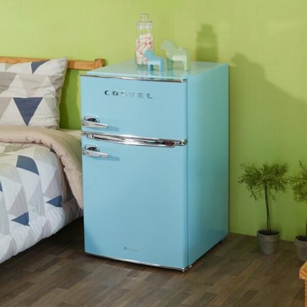 코스텔 X 리씽크 레트로 냉장고 CRS-86G 2도어 86L (4가지 색상 레드/블랙/블루/아이보리,냉장실 60L / 냉동실 26L)
