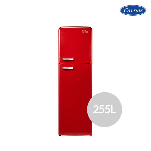[사전예약~04/15일부터 순차발송]  캐리어 레트로 냉장고 레드 클라윈드 CRF-TN251RDR (용량 : 255L / 냉장 201L / 냉동 54L / 2도어 / 크기 : 54.5 x 176.5 x 66.8cm)