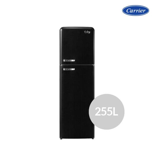 캐리어 레트로 냉장고 블랙 클라윈드 CRF-TN251BDR (용량 : 255L / 냉장 201L / 냉동 54L / 2도어 / 크기 : 54.5 x 176.5 x 66.8cm)_리씽크팀