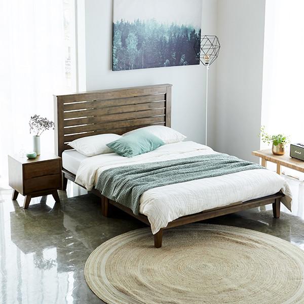 [깜짝세일~10/20까지]  코지 고무나무 원목 침대프레임 SS/Q (18T 두께의 견고한 고무나무)