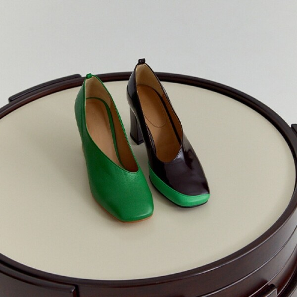 명품 디자이너 편집샵 TWO-TONE LEATHER PUMPS (BROWN/GREEN)