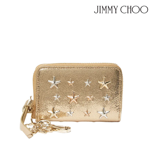 JIMMY CHOO 지미추 Cadet Star Studded Leather Zip Around Wallet 지갑 (색상: LIGHT GOLD/SILVER METALLIC MIX)