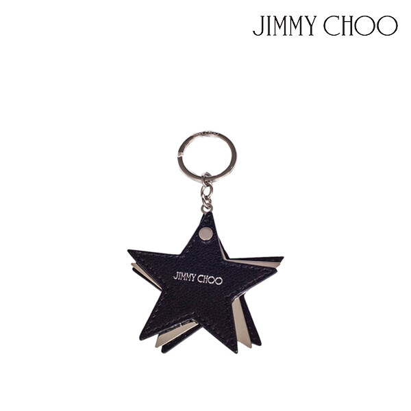 JIMMY CHOO 지미추 Star-shaped leather and metal keychain 키체인 (색상: BLACK/SILVER)