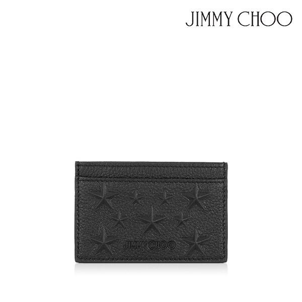 JIMMY CHOO 지미추 Black Leather Designer Card Holder with Stars 남성 카드지갑 (색상: BLACK)