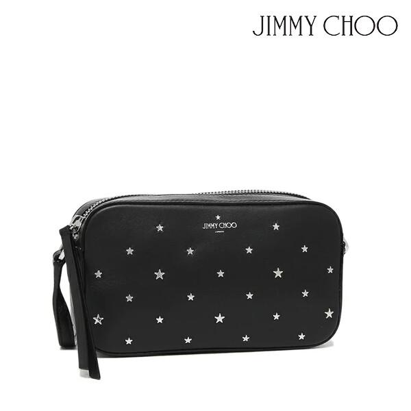 JIMMY CHOO 지미추 HALEYSN YSN SMOOTH CALF LEATHER W / MIXED FLAT STARS 크로스백 (색상: BLACK / SILVER)