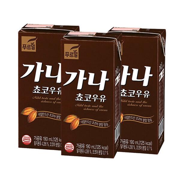 푸르밀 가나 초코 우유 190ml x 24개입 (유통기한: 2021년 11월 8일까지)