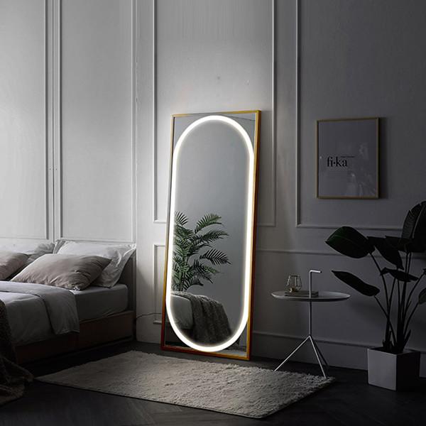 비너스 터치 LED조명 거치형 전신거울 대(블랙,네츄럴,화이트)