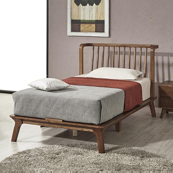 고급스러운 침대 카이 고무나무 원목 침대 프레임 SS/Q (6 type 매트리스)