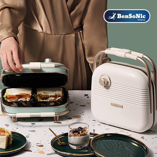 벤소닉 레트로 휴대용 샌드위치 와플 메이커 2구 BSN-SWM-1 (샌드위치/와플/도넛)