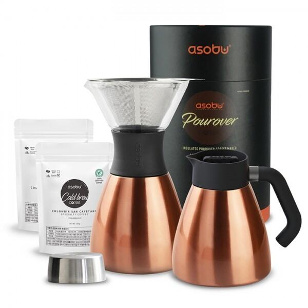누구나 어디서는 손쉽게 핸드드립 커피를 만들 수 있습니다. ASOBU NEW 푸어오버 커피메이커 (PO300 + 핸들키트 + 분쇄원두2팩)_리씽크팀