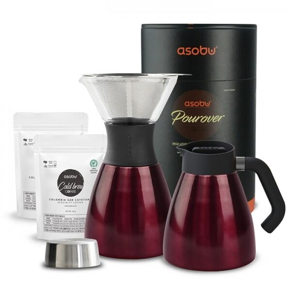 누구나 어디서는 손쉽게 핸드드립 커피를 만들 수 있습니다. ASOBU NEW 푸어오버 커피메이커 (PO300 + 핸들키트 + 분쇄원두2팩)